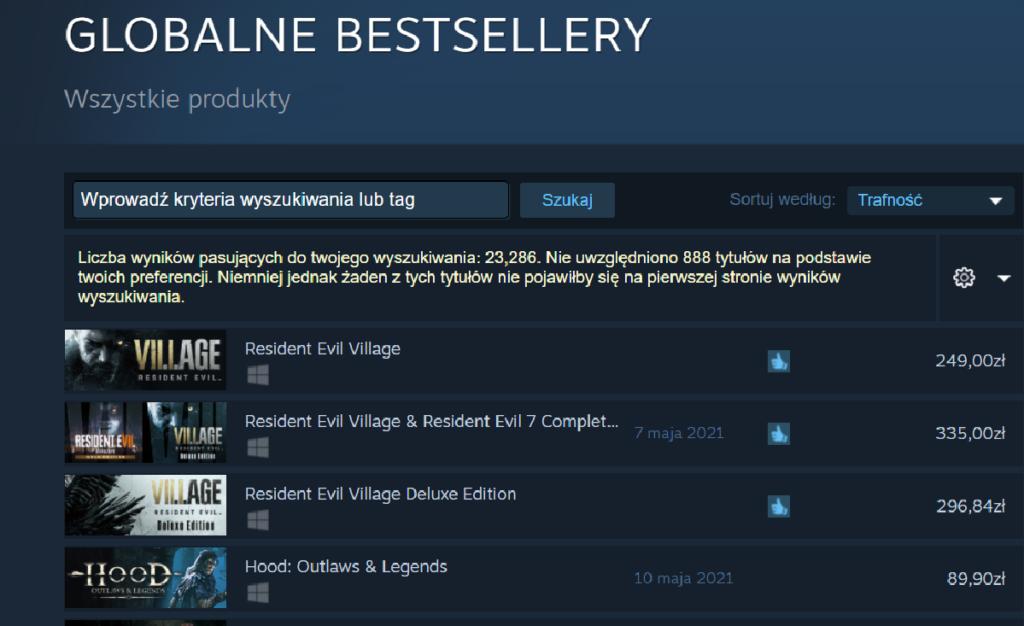 Resident Evil Village popularność na Steam
