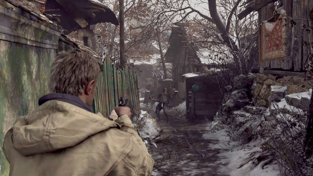 Resident Evil Village TPP Mod - główny bohater strzela z pistoletu do wilkołaka