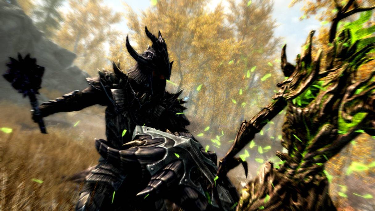 Skyrim - screen z gry przedstawiajacy walkę