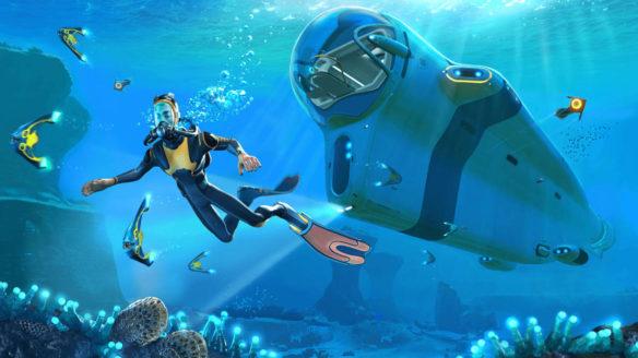 Subnautica - bohater gry pod wodą wraz ze swoim podwodnym pojazdem