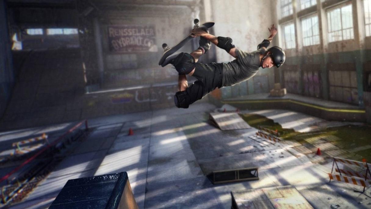 Tony Hawk - grafika ze starczej części Pro Skater - skater robiący trik w powietrzu