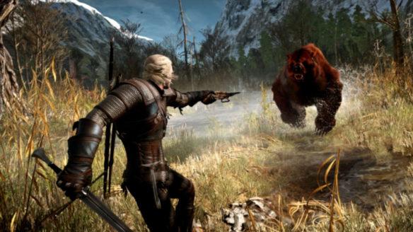 Wiedźmin 3 - Geralt bije się z niedźwiedziem