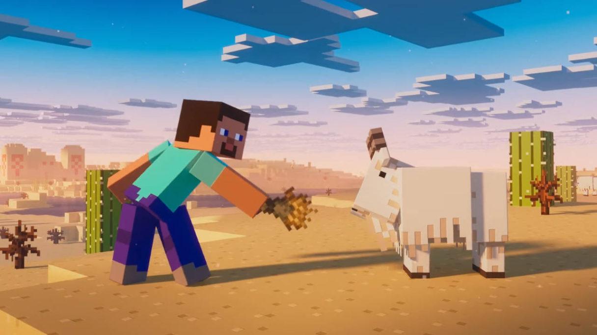 Aktualizacja Minecraft 1.17 - Steve próbuje nakarmić kozę