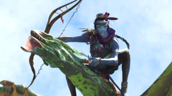 Avatar: Frontiers of Pandora - niebieski bohater leci na smokopodobnej istocie