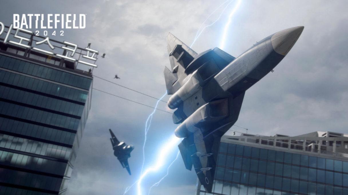 Battlefield 2042 - dwa odrzutowce na tle budynków azjatyckiego miasta i burzy