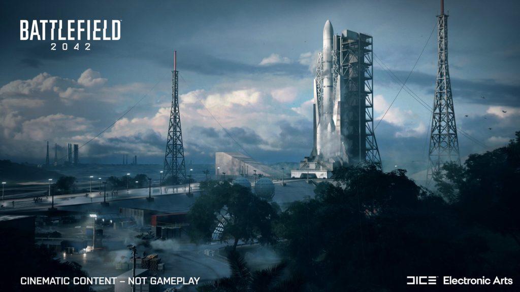 Battlefield 2042 - mapa Kosmodron z rakietą kosmiczną