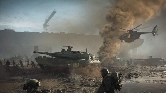 Battlefield 2042 - czołg, helikopter i żołnierze na polu bitwy