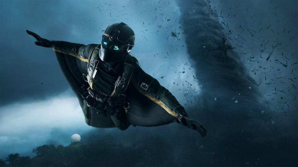 Battlefield 6 - żołnierz szybujący w powietrzu przy pomocy wingsuitu