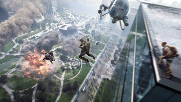 Battlefield 6 - żołnierze skaczą z budynku w wingsuitach