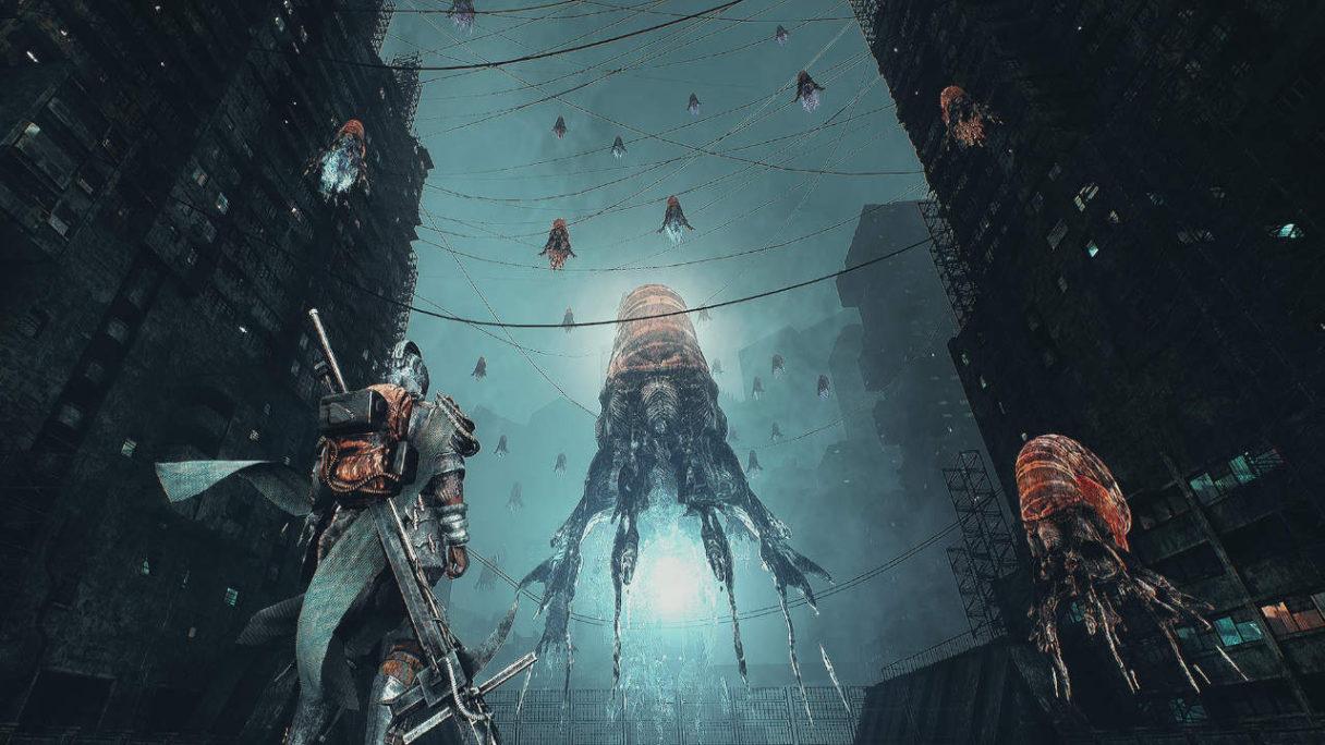 Bleak Faith Forsaken - gracz stoi przed ogromną meduzą