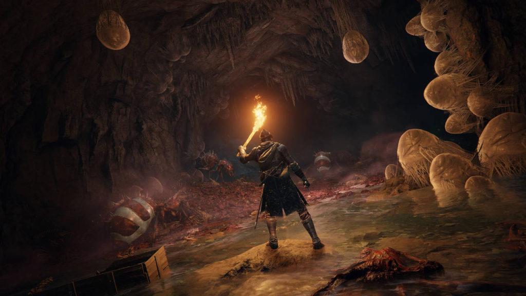 bohater elden ring rozświeca pochodnią jaskinię