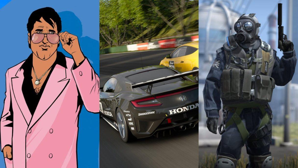 Bohater z GTA Vice City - dwa samochody ścigające się po torze wyścigowym i antyterrorysta z csgo