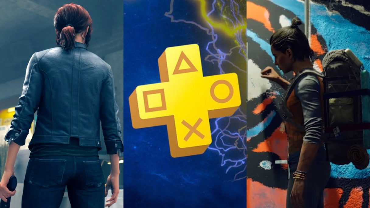 bohaterka z Control stoi tyłem z bronią, logo PS Plus, Danii z Far Cry 6 puka w drzwi (1)