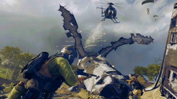 Call of Duty Warzone - gracze strzelają do siebie na tle lecącego helikoptera