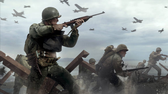 Call of Duty WWII i Vanguard- żołnierze na polu bitwy i samoloty w tle