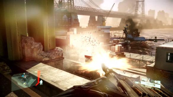 Crysis 2 Remastered - kadr z gry, gdy wysadzamy z daleka beczkę