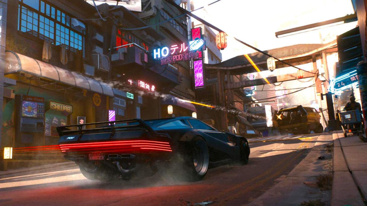 Cyberpunk 2077 - szybkie auto mknie przed siebie