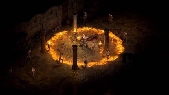Diablo II Resurrected - ujęcie wprost z rozgrywki z ognistą falą ognia