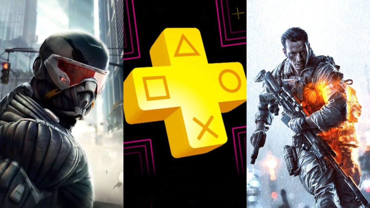 DoGRYwka -bohater z serii Crysis, logo PS Plus i żołnierz z Battlefield