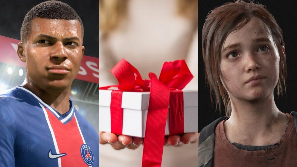 DoGRYwka - czarnoskóry piłkarz z FIFA 21, pani trzyma prezent, Ellie z The Last of Us