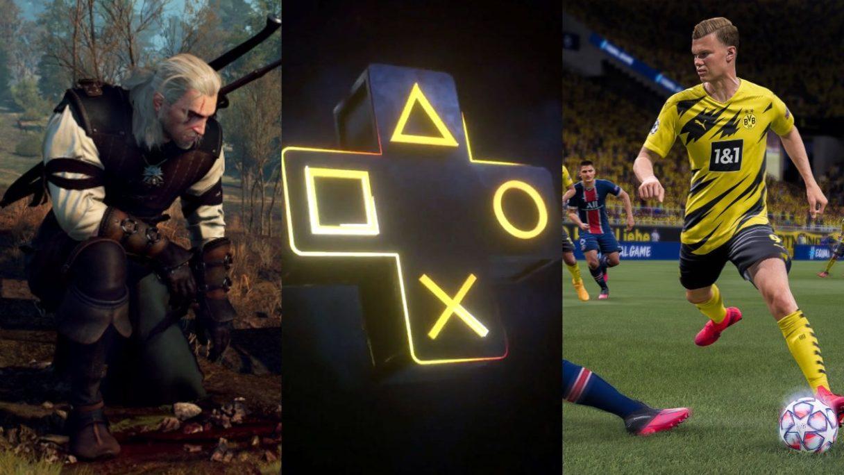 DoGRYwka - Geralt klęczy nad tropem swojej wiary, logo PS Plus i piłkarz z gry FIFA
