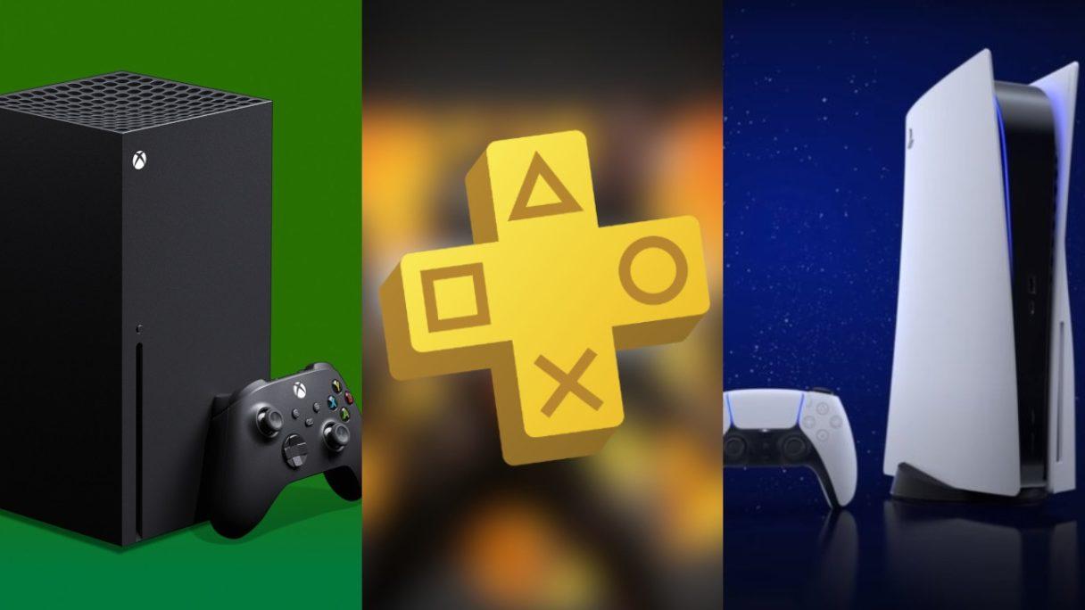 DoGRYwka - konsola Xbox Series X, logo PS Plus, konsola PS5
