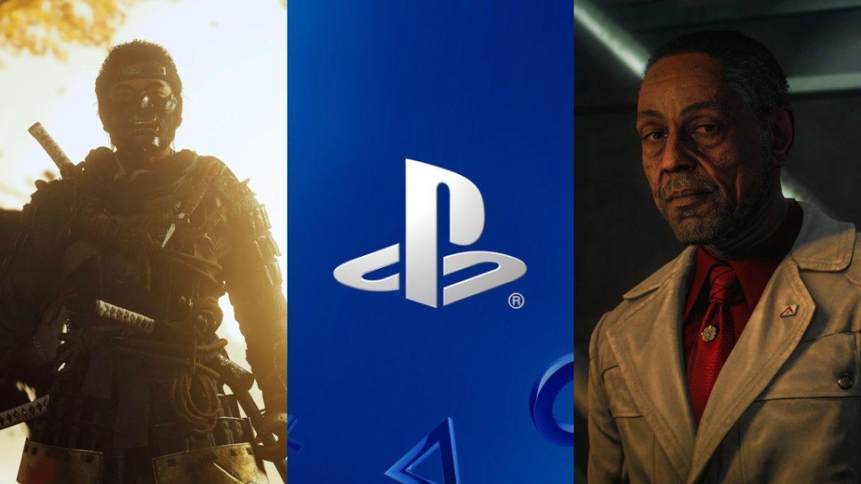 DoGRYwka - samuraj z Ghost of Tsushima w masce, logo PlayStation, antagonista z Far Cry 6