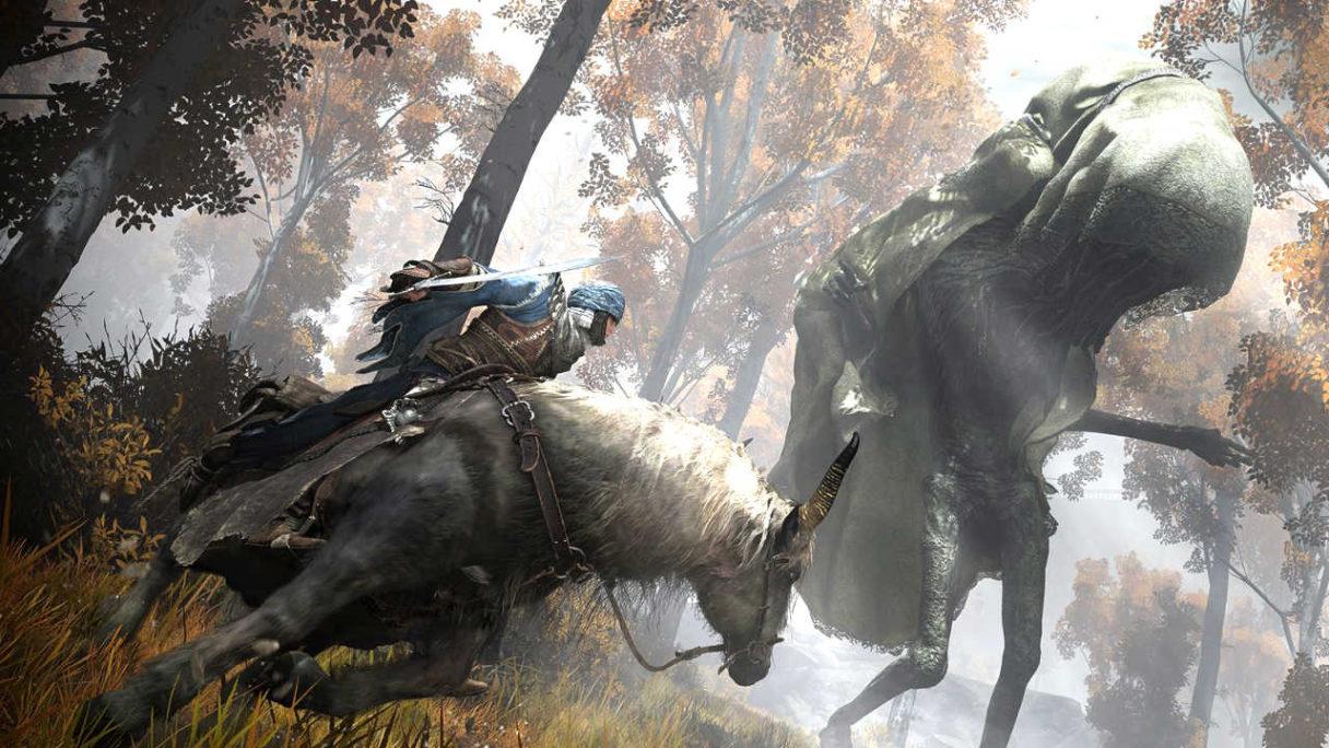 Elden Ring - mężczyzna na koniu podąża za dużym stworem