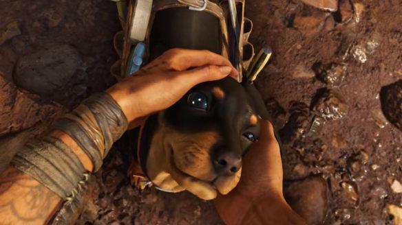 Far Cry 6 - bohaterka gry głaszcze pieska