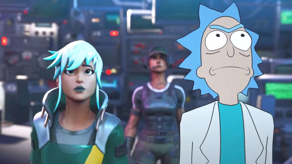 Rick z Rick and Morty obok postaci z Fortnite