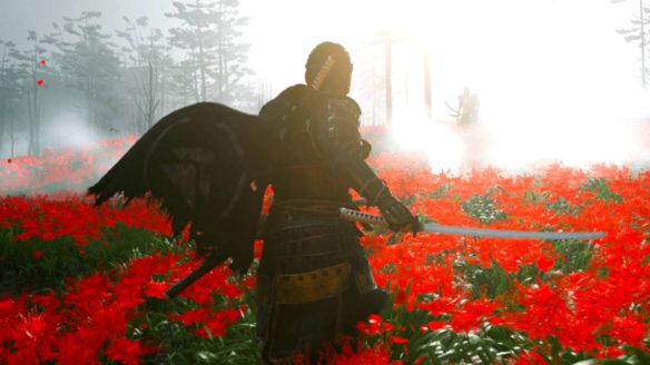 Ghost of Tsushima - główny bohater z mieczem na łące