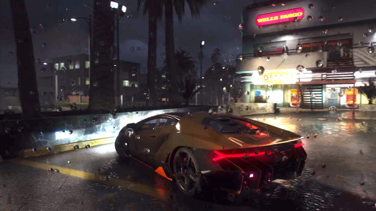 GTA V - kadr z nagrania pokazującego grę w 8k z ray tracingiem