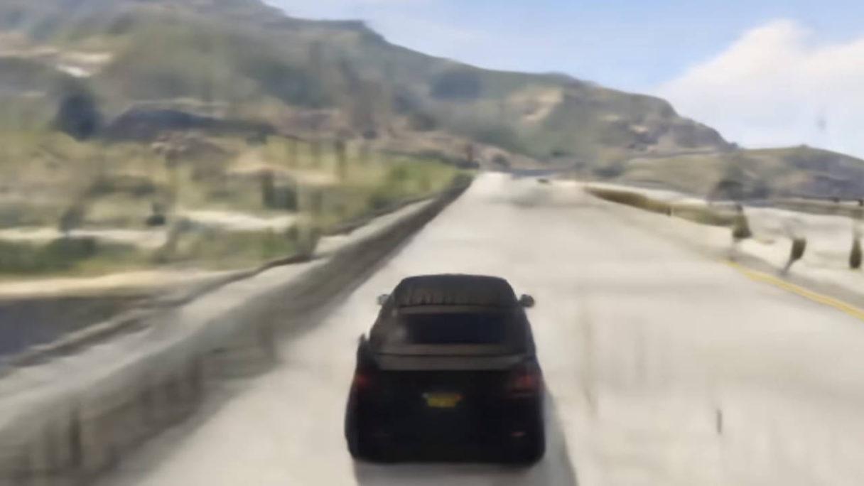 GTA V odtworzone przez SI - jedzie samochód