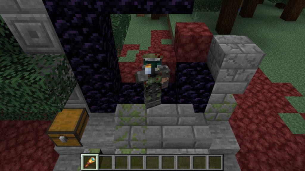 Miedź w Minecraft - Postać ze skinem Doomguya patrzy przez lunetę w trybie F5