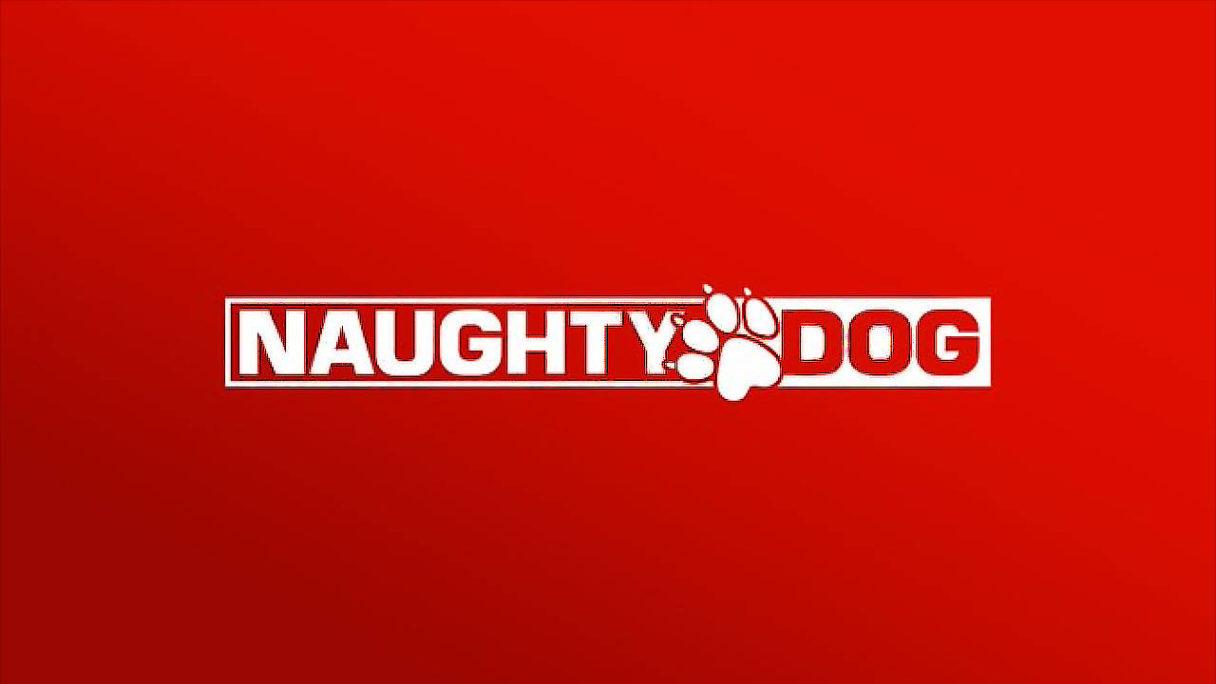 Naugty Dog logo na czerwonym tle