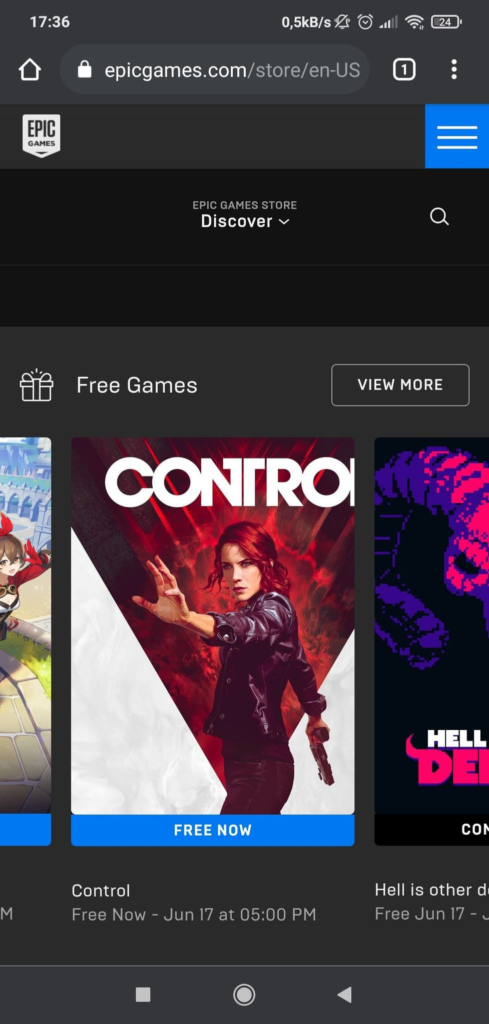Screenshot z Epic Games Store na wersji mobilnej z darmową grą Control