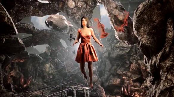 Pioner - latająca kobieta w czerwonej sukni na tle apokaliptycznego świata