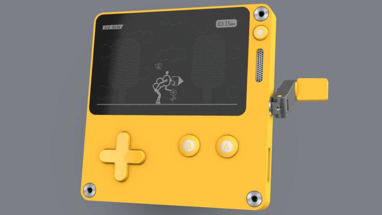 Playdate - konsola na korbkę na zdjęciu z jedną z gier