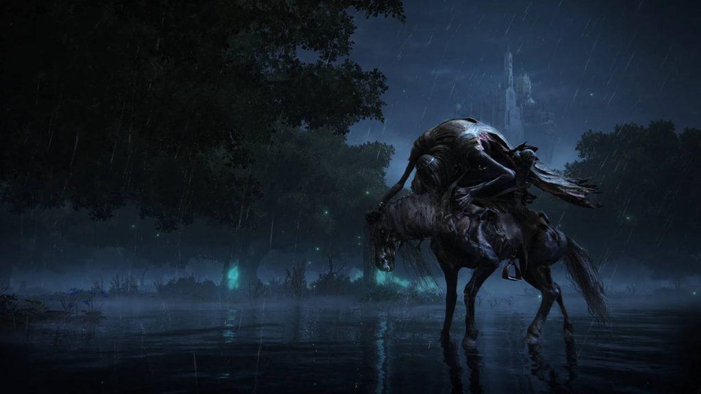 potwór pożera konia stojąc na nim