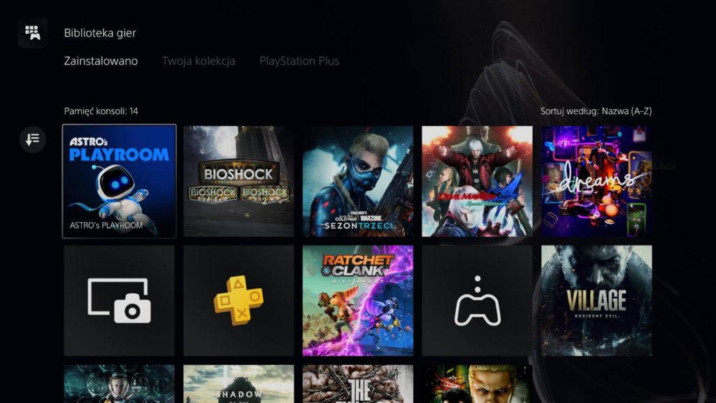 PS5 - nowy układ gier w bibliotece