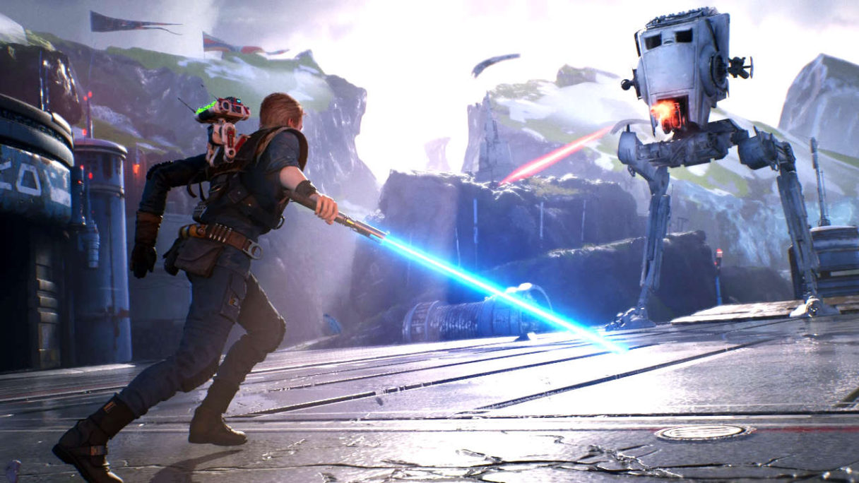 Star Wars Jedi Fallen Order - Cal Kestis walczy z AT-ST