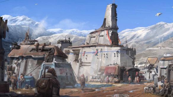 Starfield - kadr z gry z kosmiczną osadą