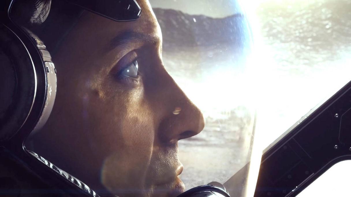 Starfield od Bethesda zbliżenie na twarz kosmonauty