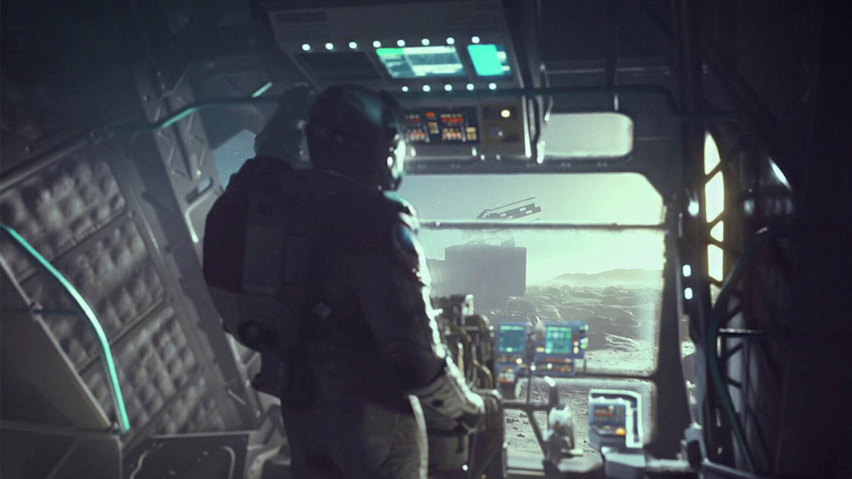 Starfield - postać w statku kosmicznym
