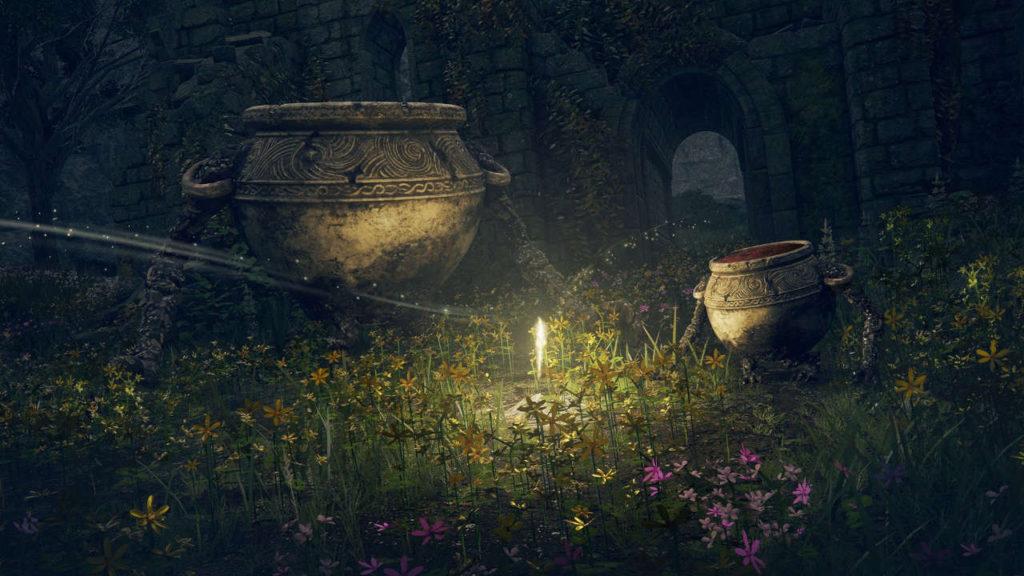 świecący obiekt wśród zdobionych waz z Elden Ring