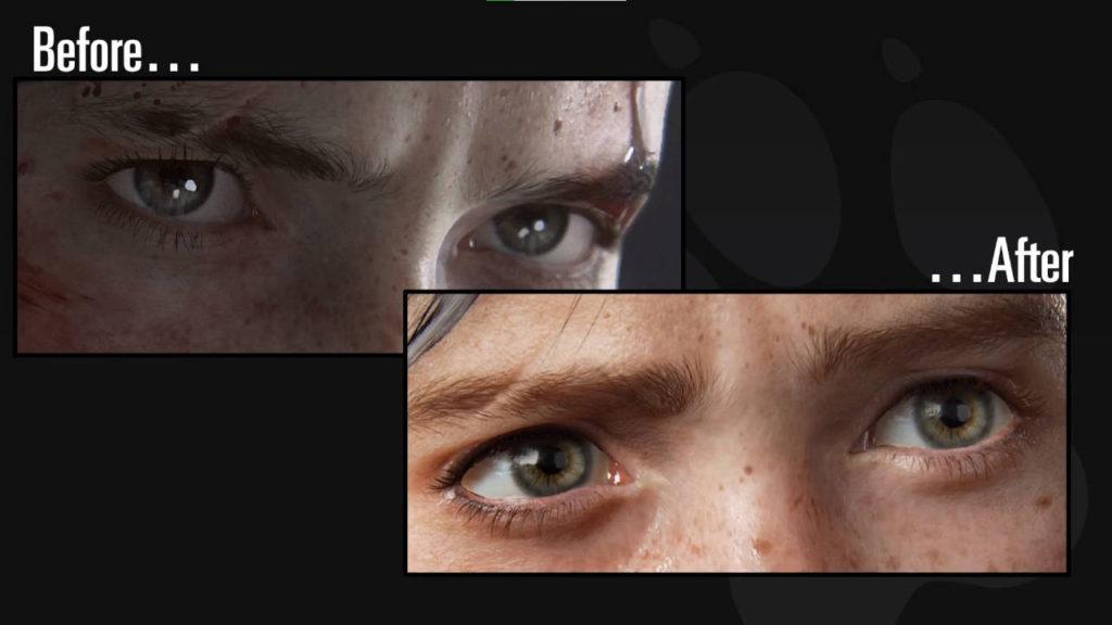 The Last of Us 2 - porównanie oczu przed i po wprowadzeniu poprawek