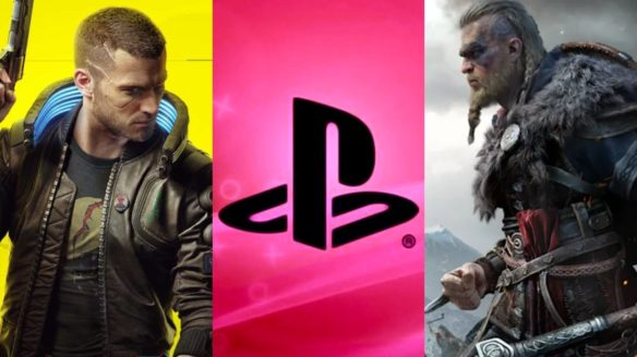 Vi z Cyberpunk, logo PlayStation i Eivor z AC Valhalla