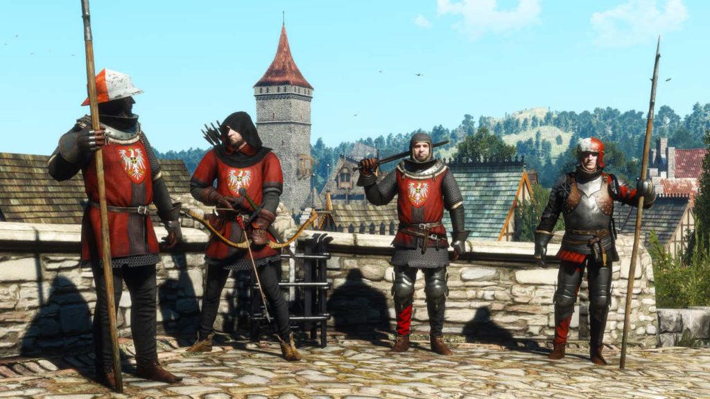 Wiedźmin 3 - czwórka żołnierzy redańskiej armii w nowych strojach