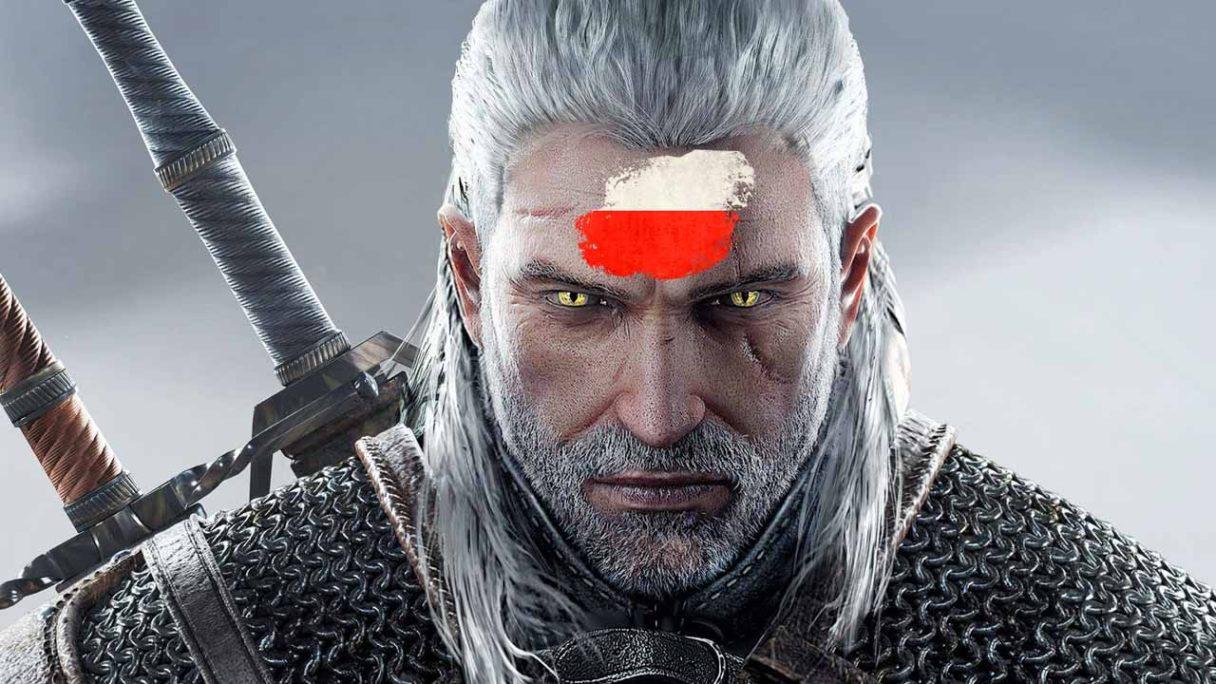 Wiedźmin 3 - Geralt z flagą Polski