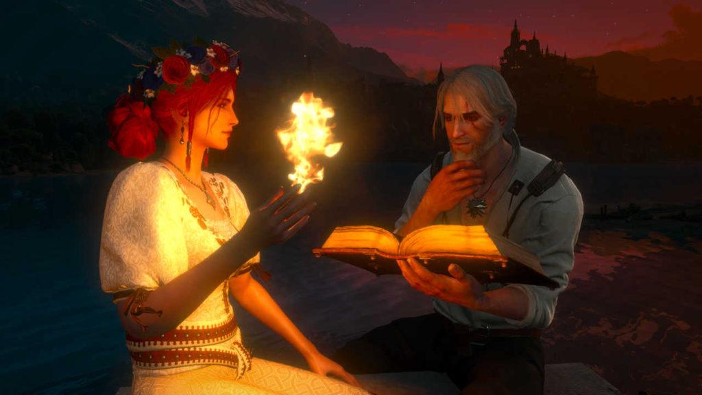 Wiedźmin 3 - Triss pokazuje magiczną sztuczkę z kulą ognia Geraltowi